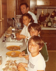 1978 our children cleaning fish with their dad on a Sunday afternoon
