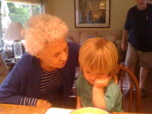 95 years difference, mom at 100 and Dante at 5