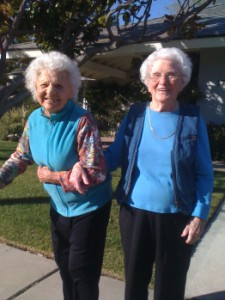 Mom and her first friend that she met in America in 1933, my sister's mother -in- law, Amy, from Connecticut, going for a walk at age 100 and 102 in California, Wonderful ladies and mothers.