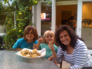 Grandma Lucy with Dante and Luca enjoying fried smelts.